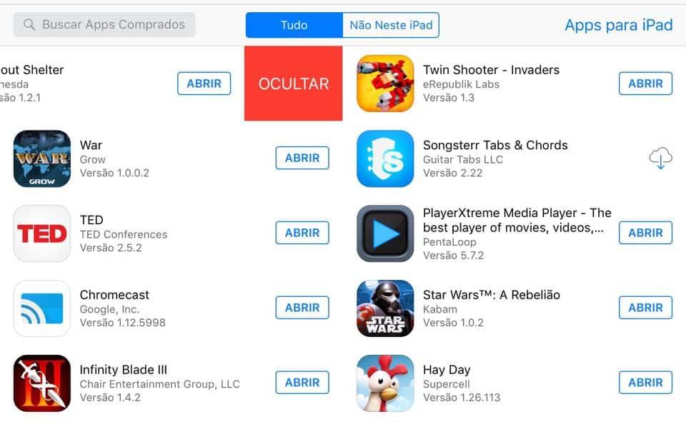 ocultar aplicativos da app store