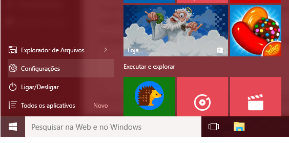configurações no Windows 10