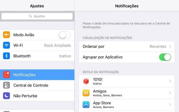 agrupar notificações no ipad
