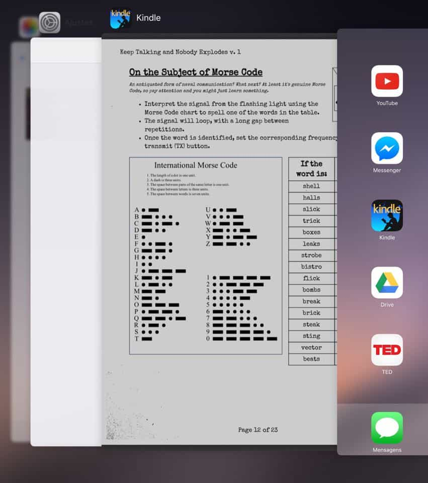 apps em segundo plano ipad