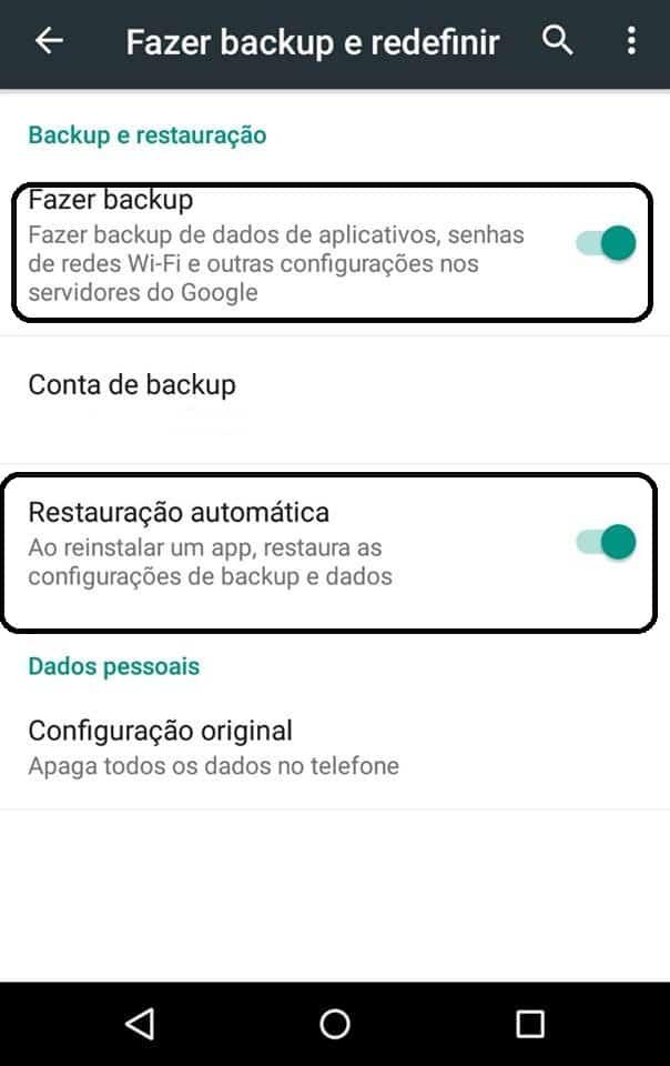 como restaurar o Android
