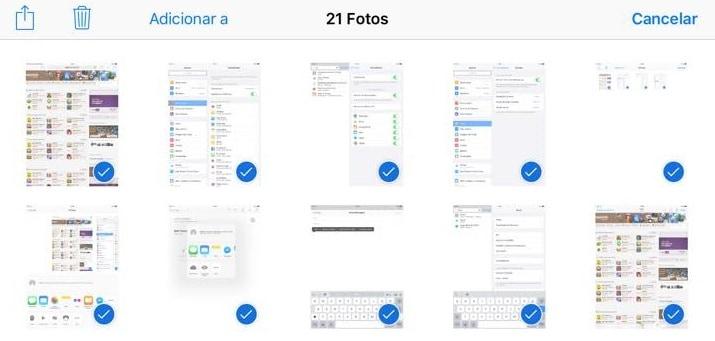 selecionar fotos no ipad