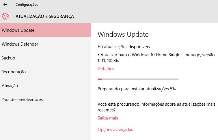atualização Windows 10