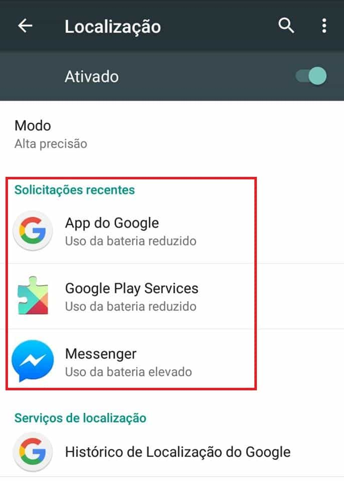 desativar rastreamento no Android