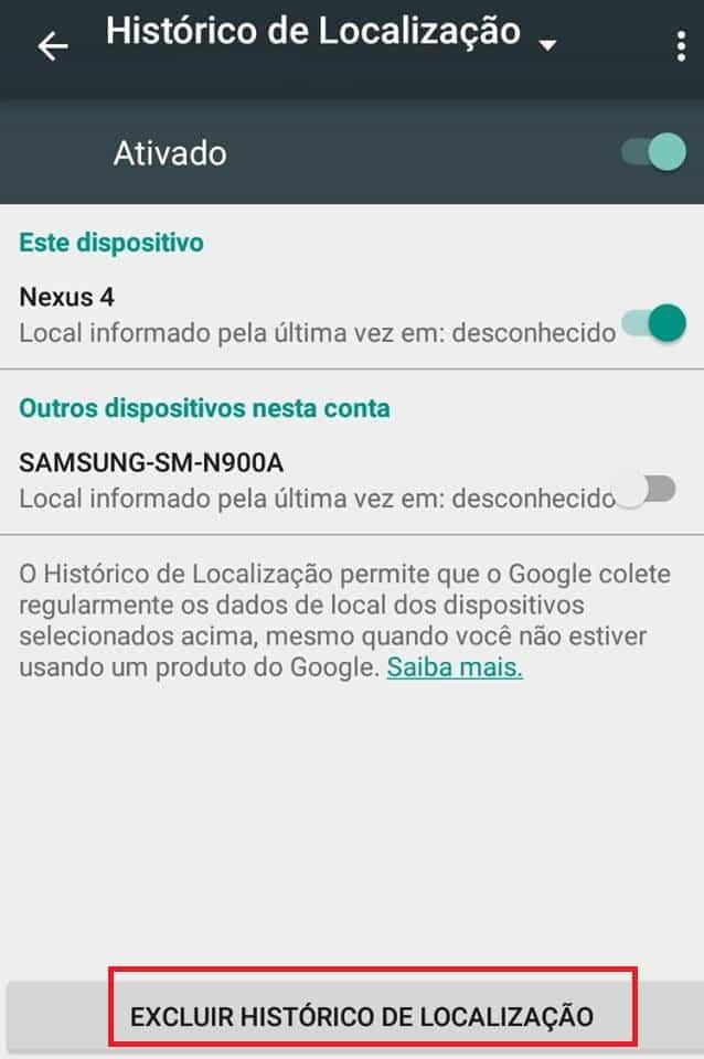 histórico de localização no Android