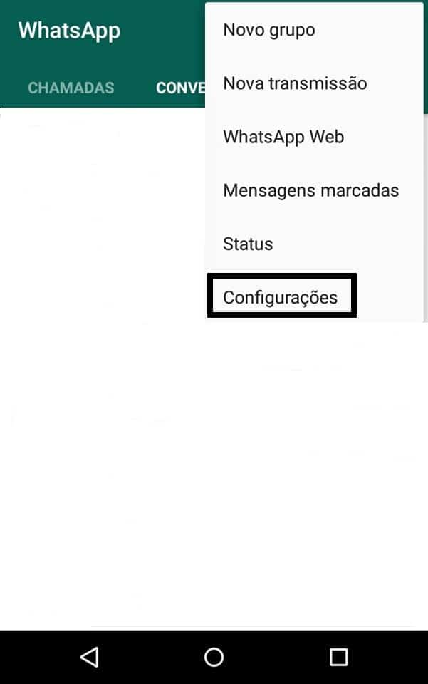 esconder staus no whatsapp