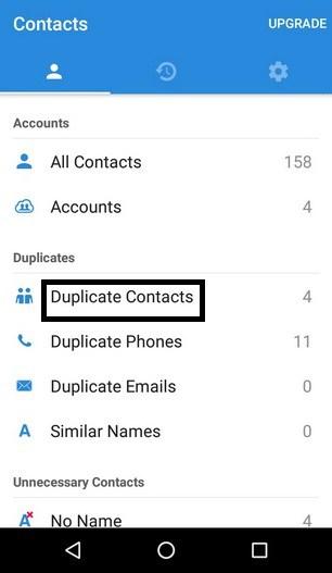 excluir contatos