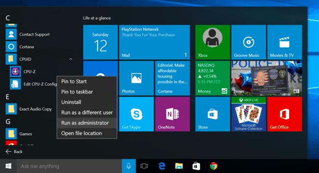 windows 10 with start menu open