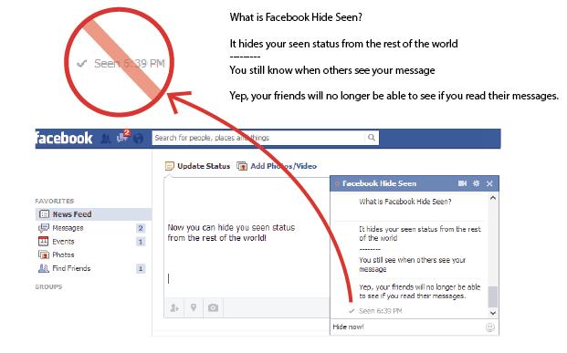 como desativar o aviso de mensagem visualizada no Facebook extensao