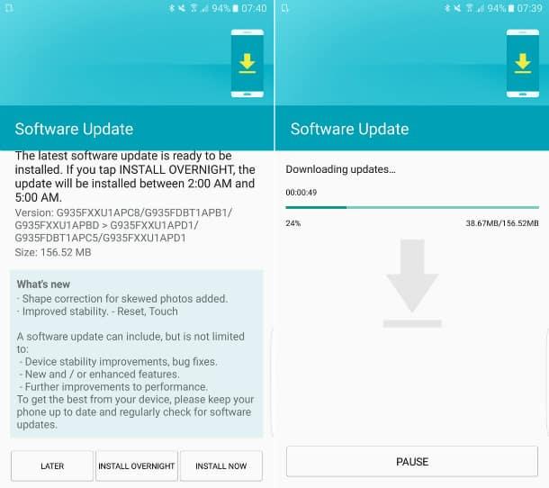 Atualização do Galaxy S7
