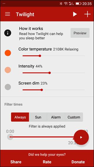 android modo noturno