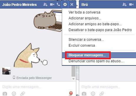 bloquear mensagens no facebook