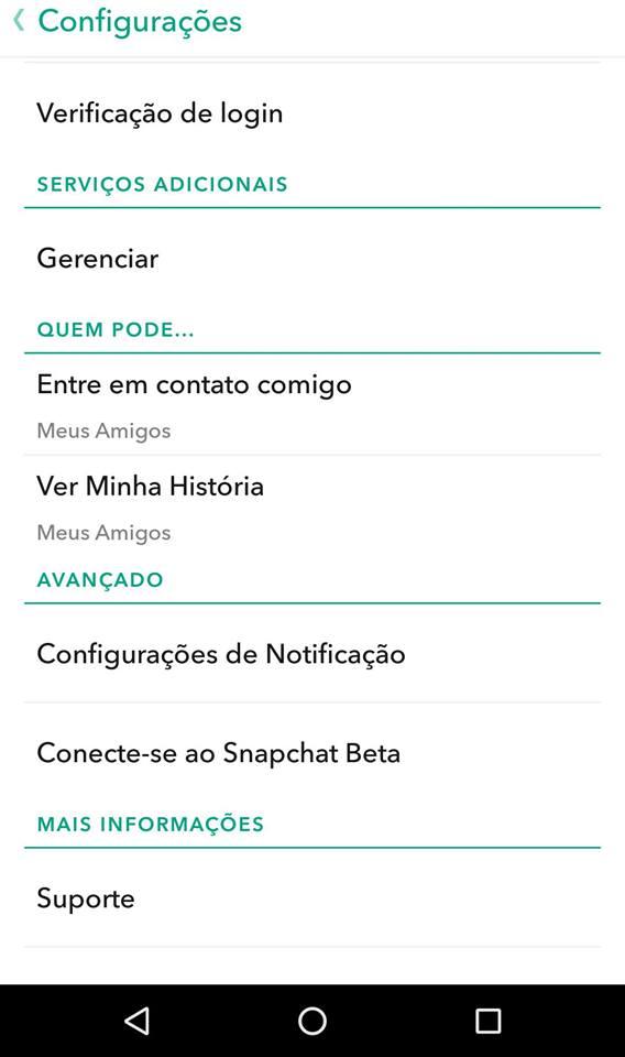 configurações snapchat