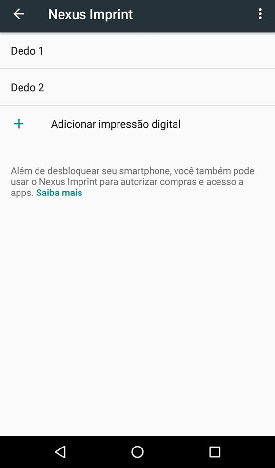 impressão digital no Android