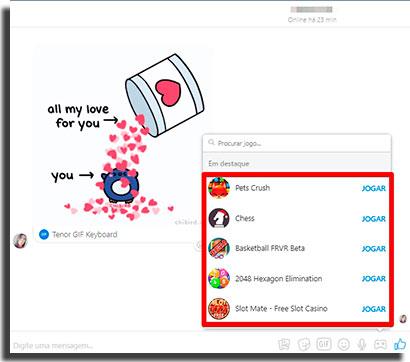 mensagens no facebook jogos