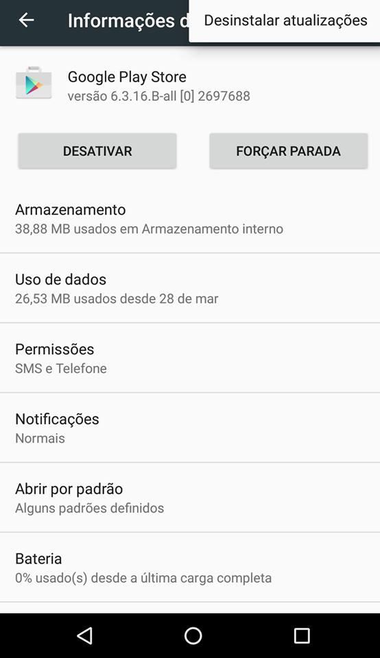 problemas do Google Play