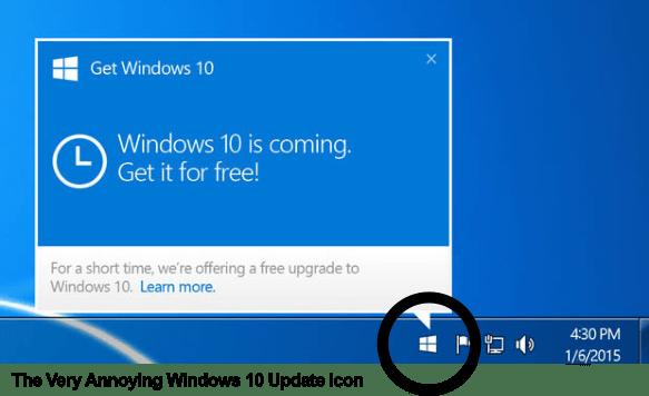 Notificações para atualizar Windows 10