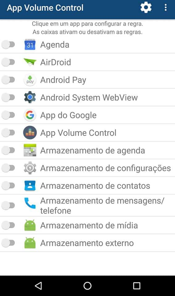 volume do Android