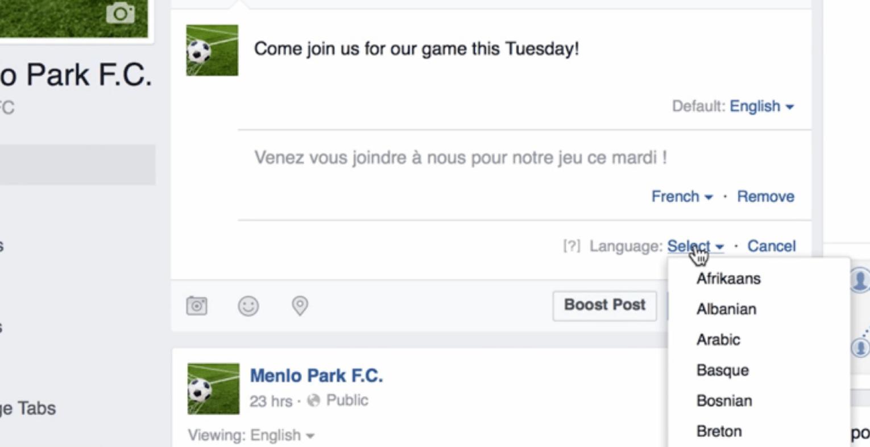 Postar em vários idiomas no Facebook