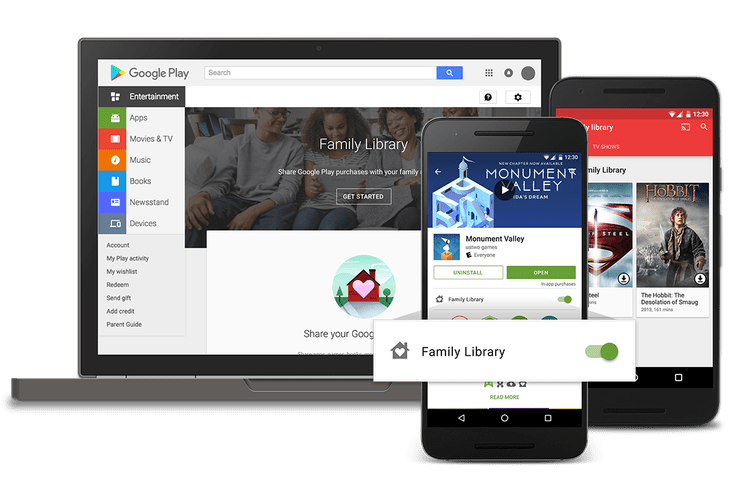 compartilhamento de contas na Google Play