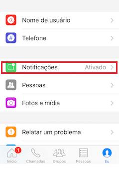 configurações messenger