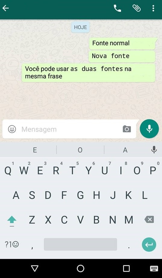 fonte do whatsapp