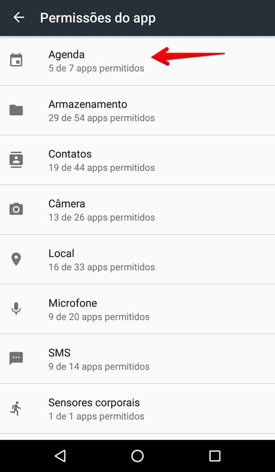 permissões de apps android