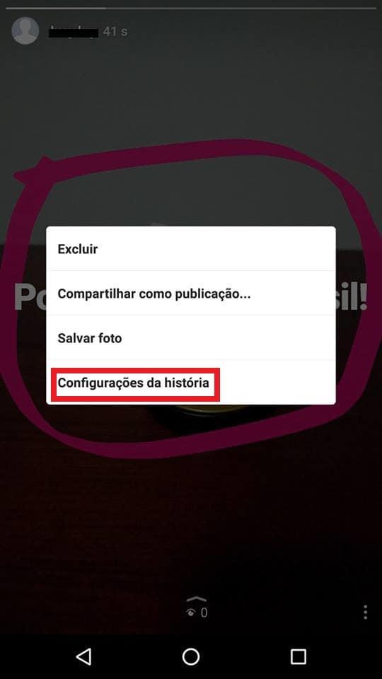 configurações instagram