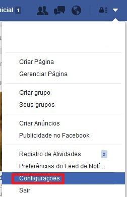 facebook configurações
