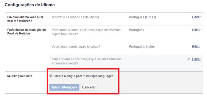idiomas do facebook