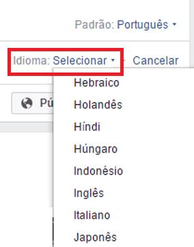 idiomas no facebook