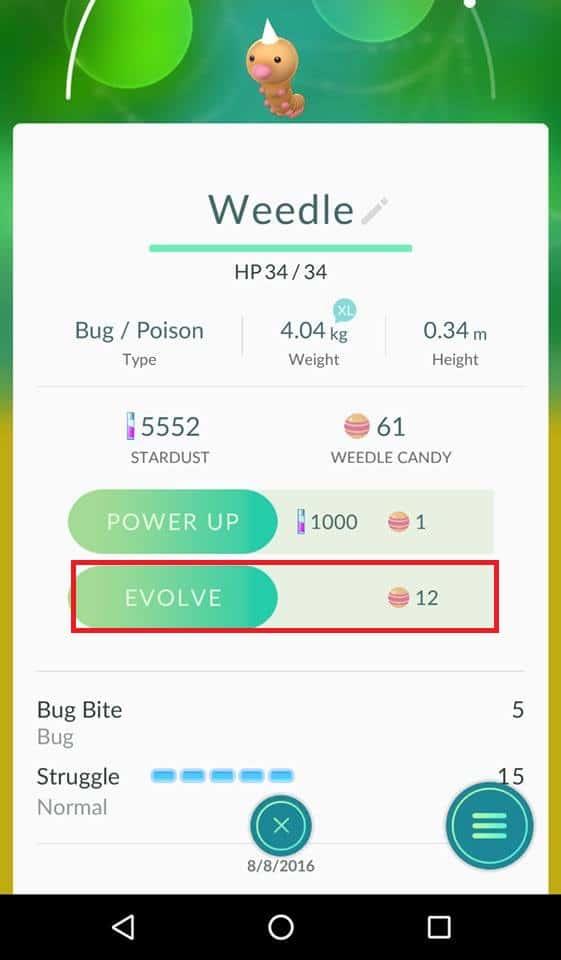 pokemon go evoluir