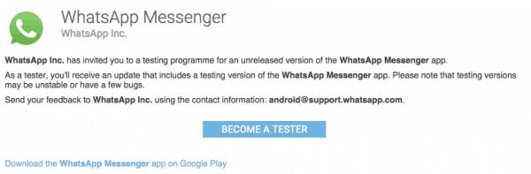 como ser beta tester whatsapp