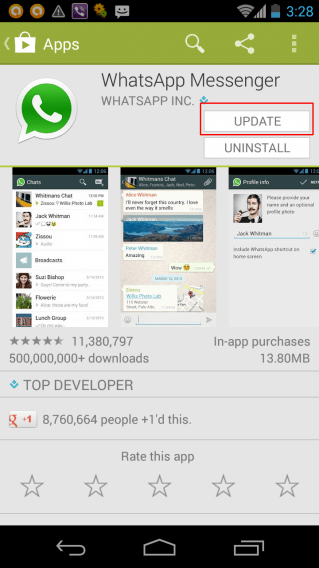 atualizando whatsapp