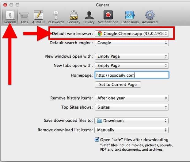mudar o navegador padrão do Mac