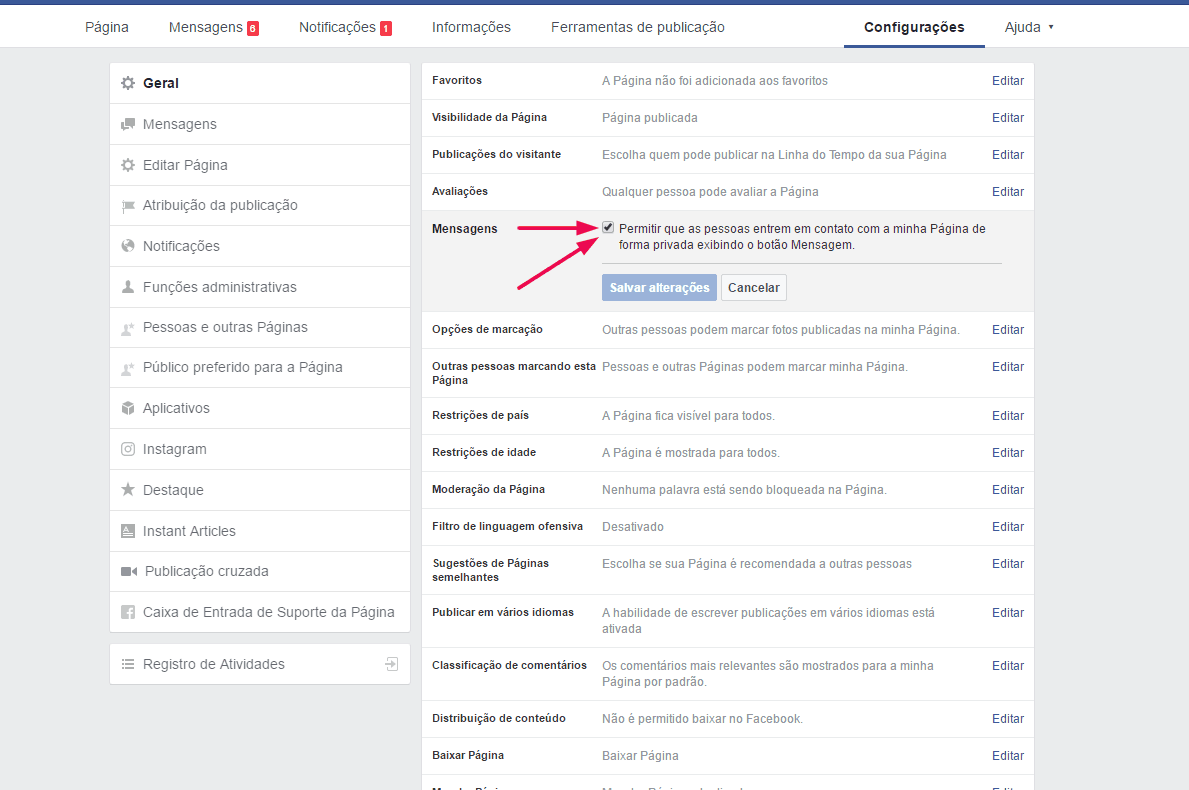 bloquear-mensagens-na-fan-page-desmarcar