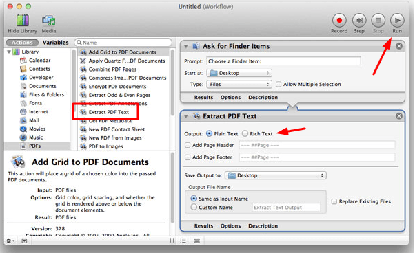 how to convert pdf to word on mac automator