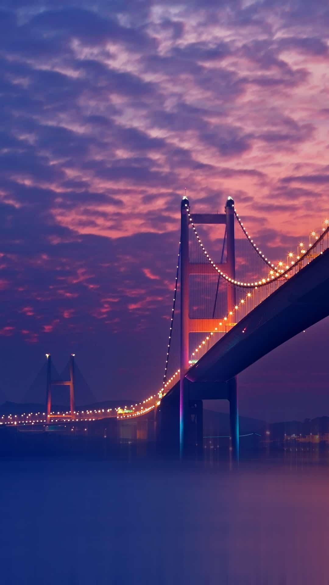 bridge-night-lights-purple-android-wallpaper