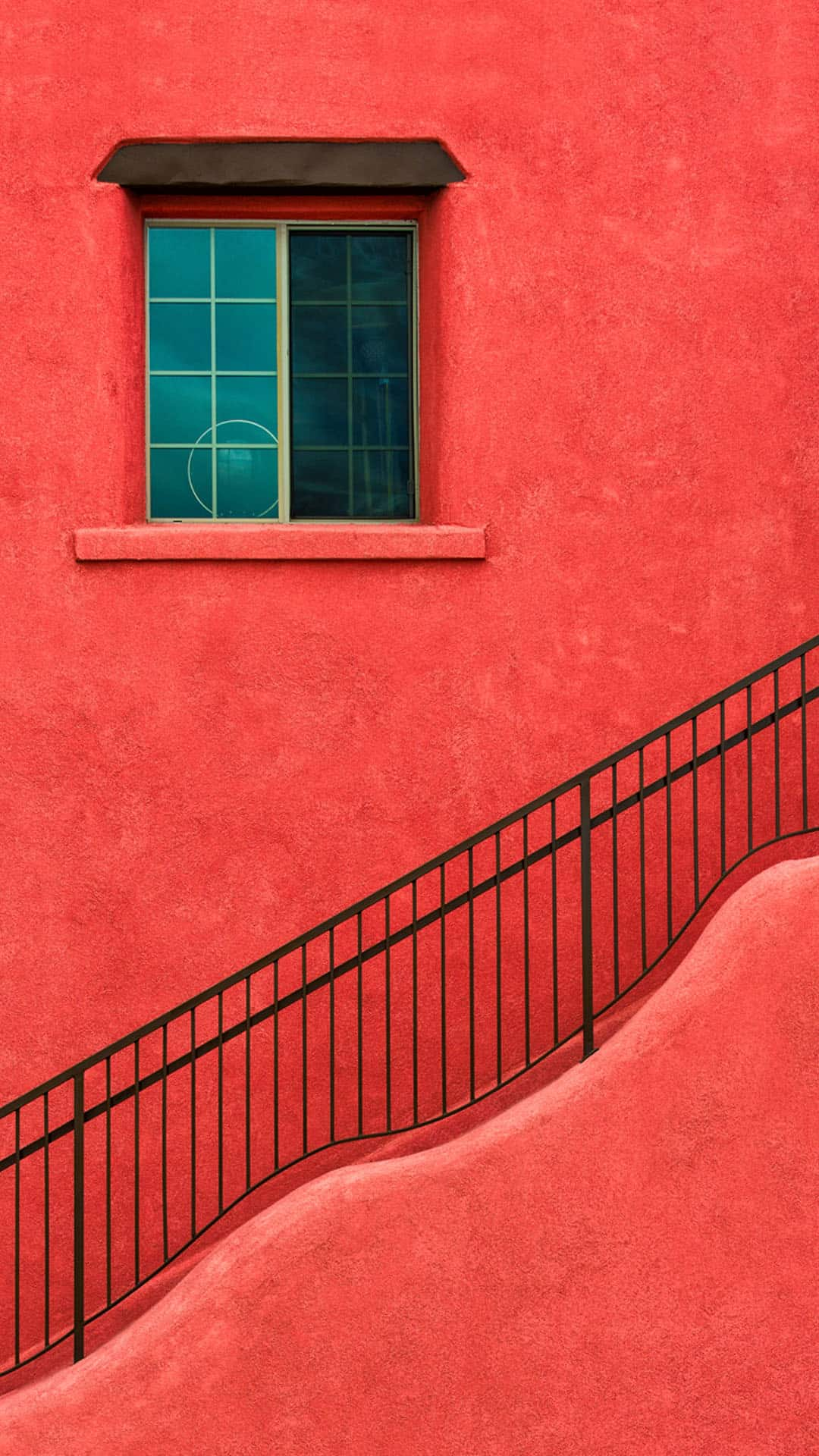 red-painted-house-wall-stairs-android-wallpaper
