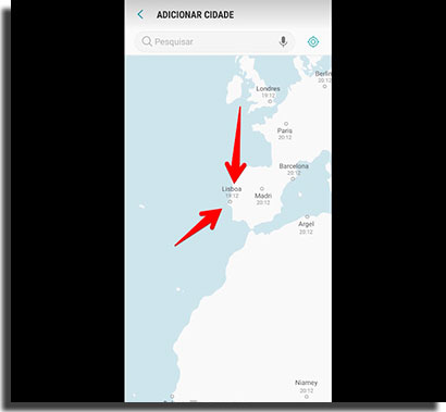 despertador do android mapa