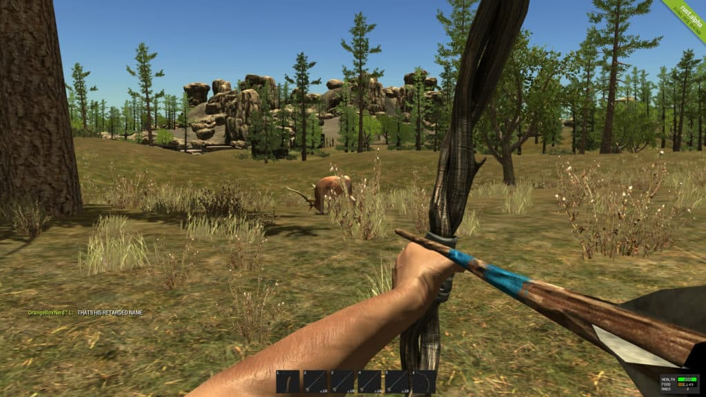 gameplay screen of rust, one of the best survival games on steam