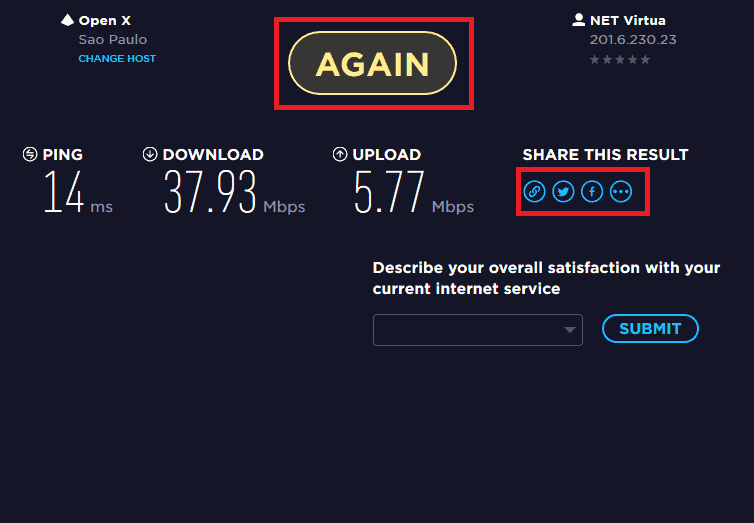 teste de internet