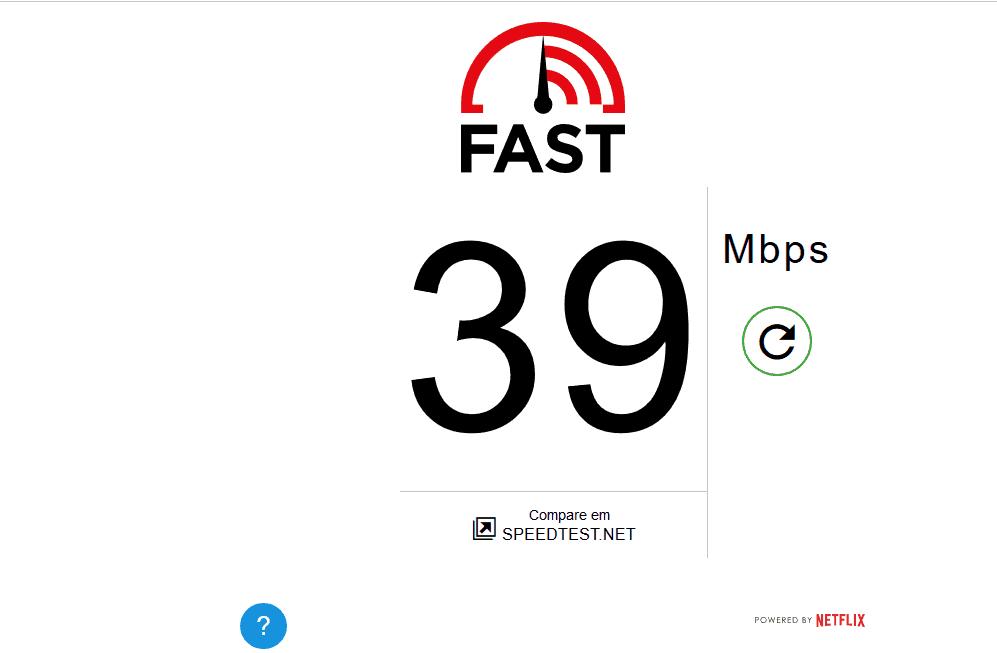 velocidade de internet