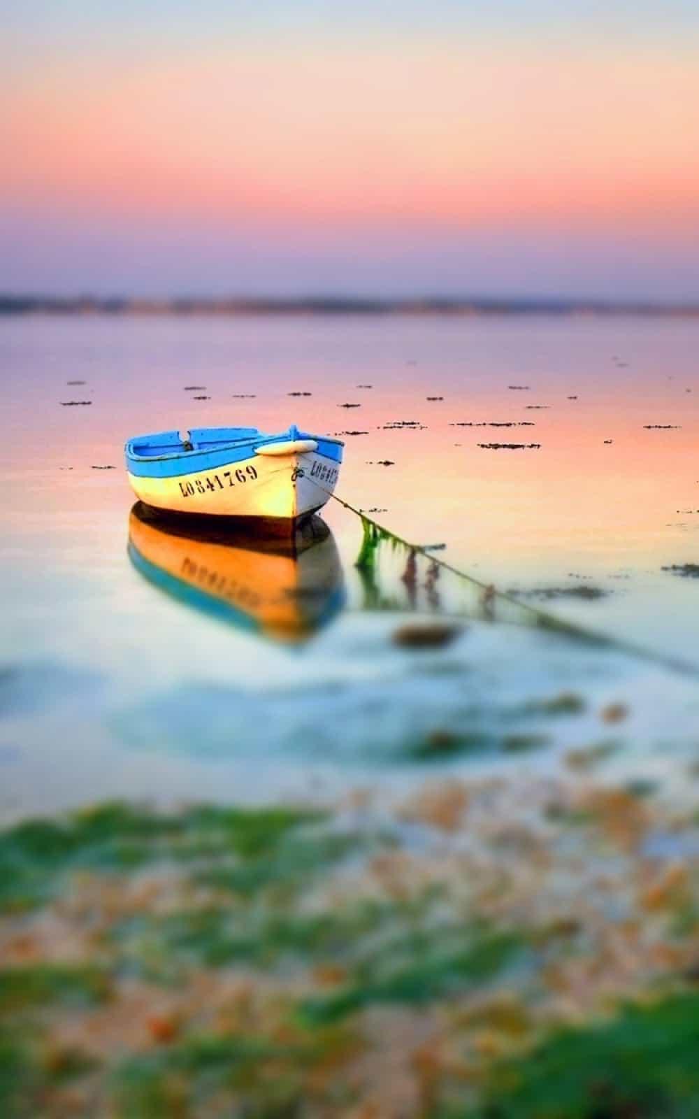 Boat On Lake Tilt Shift Android Wallpaper