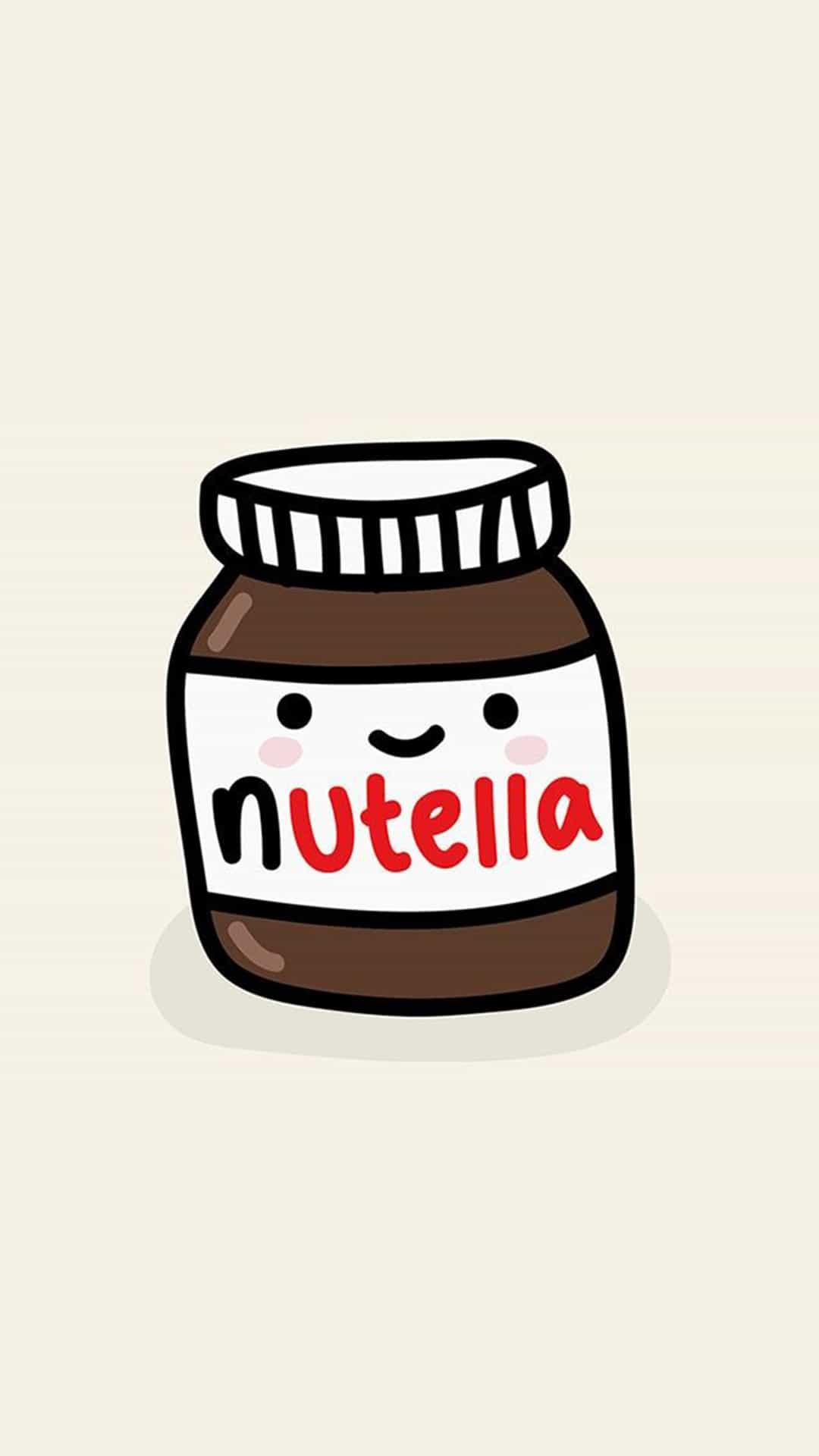 Cute Nutella Jar Illustration Android Wallpaper