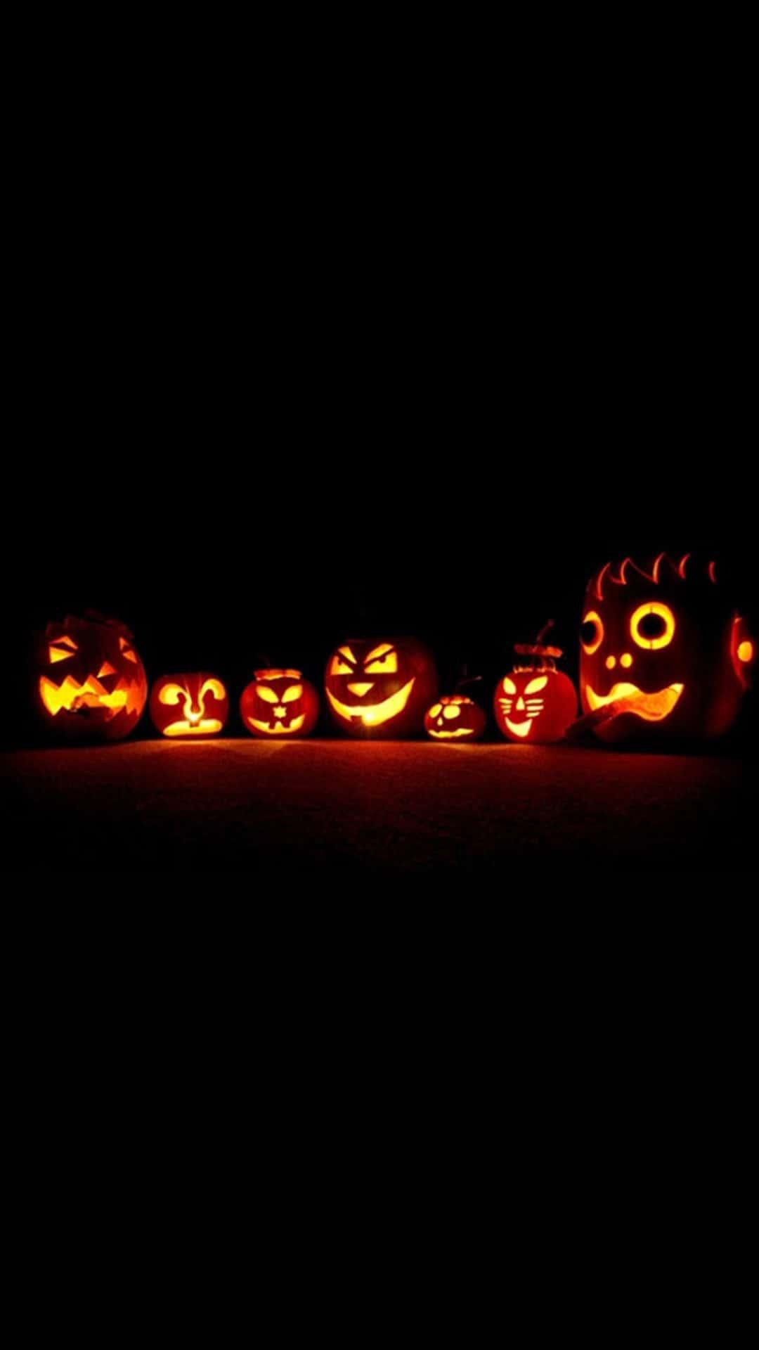 Glowing Halloween Pumpkins Android Wallpaper
