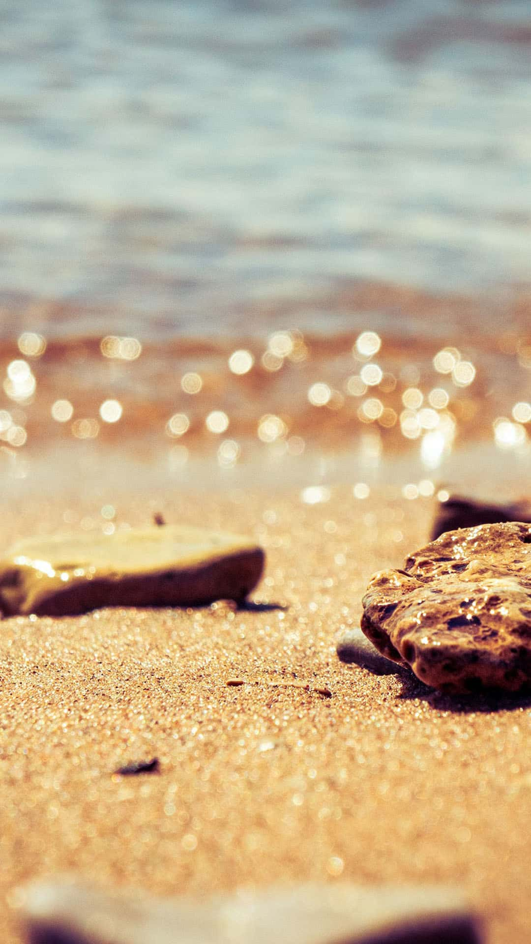 Macro Beach Bokeh Water Rocks Summer Android Wallpaper