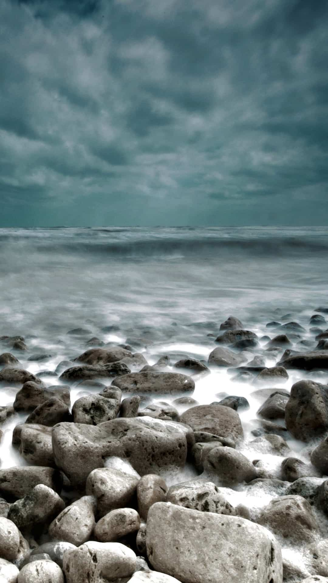 Rough Sea Rocks Waves Lockscreen Android Wallpaper