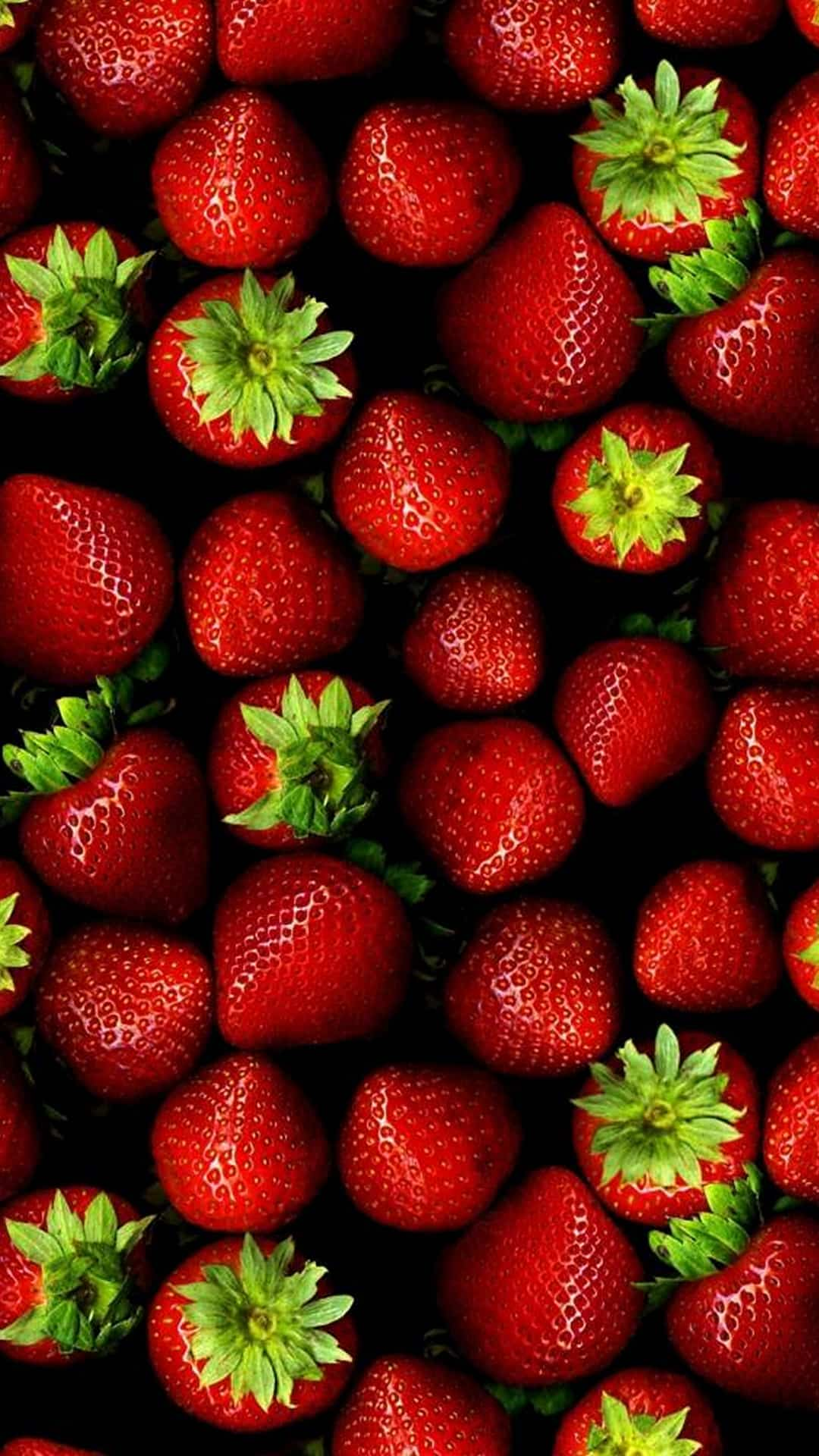 Strawberries Pattern Red Fruit Android Wallpaper
