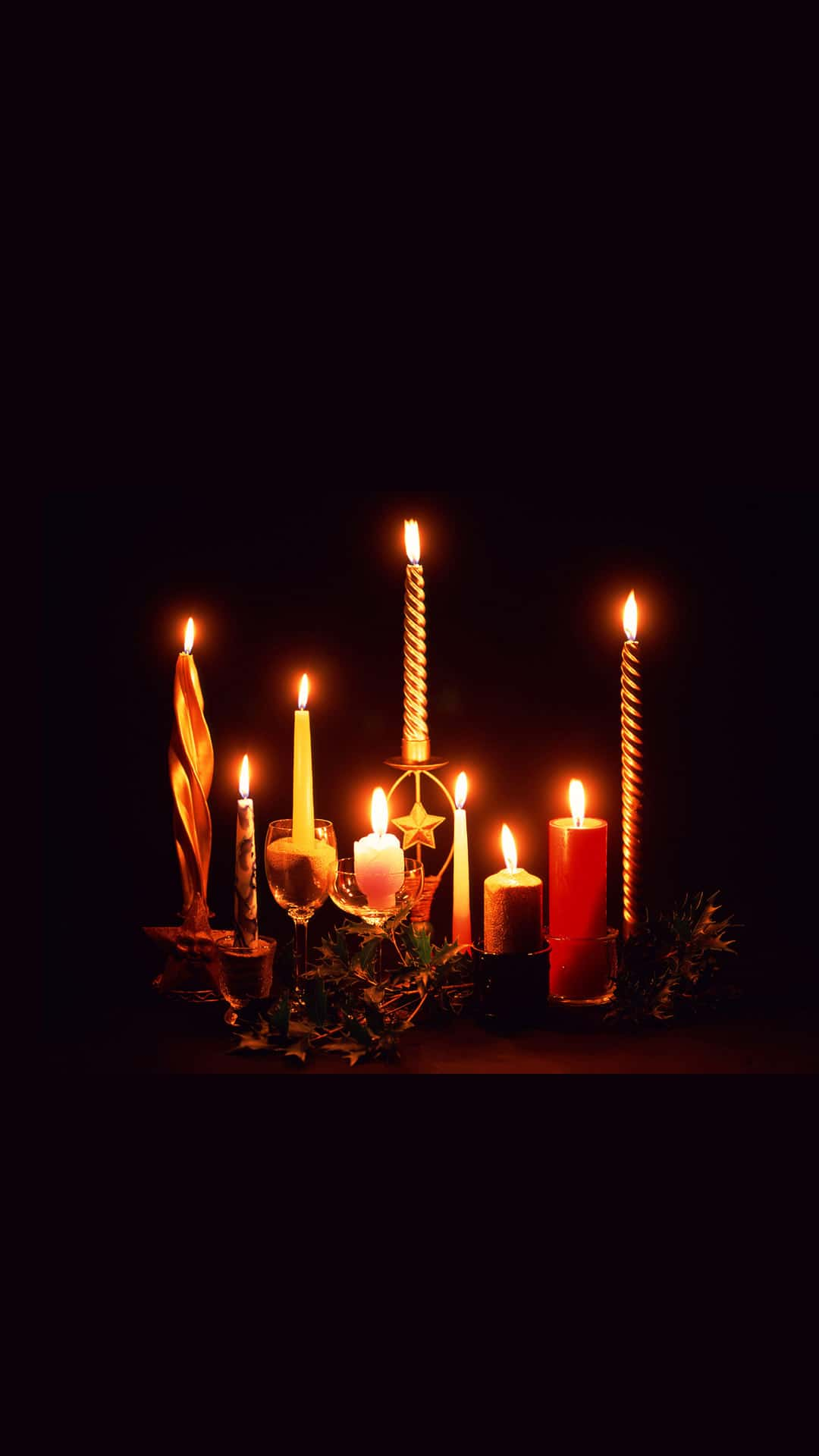 Variety Christmas Candles Android Wallpaper